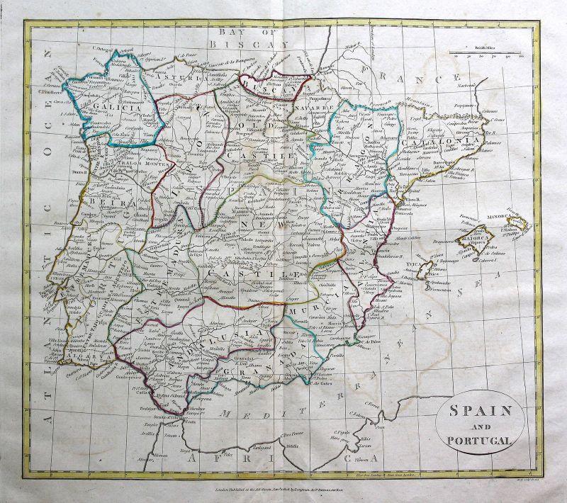 1808 Spanien Spain Espana Portugal Mallorca Ibiza Menorca Karte map Kupferstich