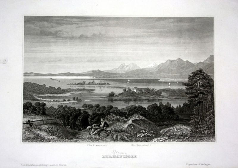 Ca. 1840 Königssee Fraueninsel Herreninsel Ansicht view Stahlstich engraving