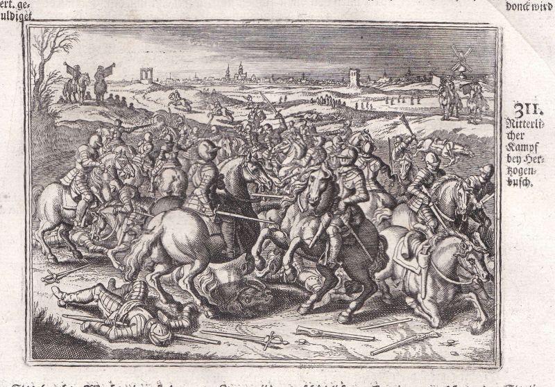 Ca. 1700 's-Hertogenbosch Kampf battle Kupferstich antique print Merian