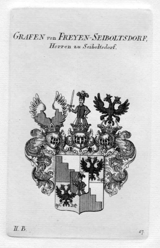 1820 Freyen Seiboltsdorf Wappen Adel coat of arms heraldry Heraldik Kupferstich