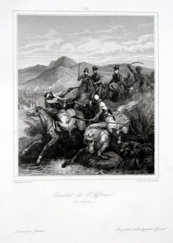 Ca. 1840 El Affroun Algeria battle Ansicht vue estampe Stahlstich antique print
