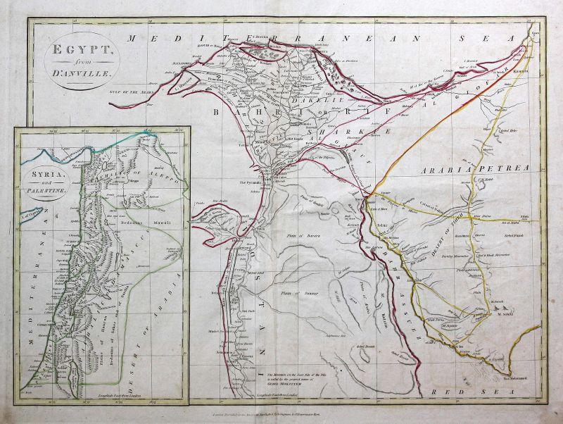 1808 Ägypten Egypt Afrika Africa Saudi-Arabien Arabia Karte map Kupferstich