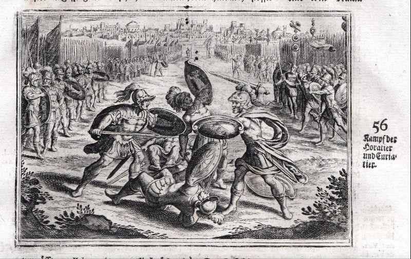 Um 1700 Kampf Schlacht battle Horatier Horatii Kupferstich antique print Merian