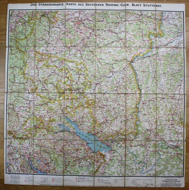 Ca. 1930 - Stuttgart Bodensee Bayern Wangen Kempten Ulm Herisau Karte Landkarte