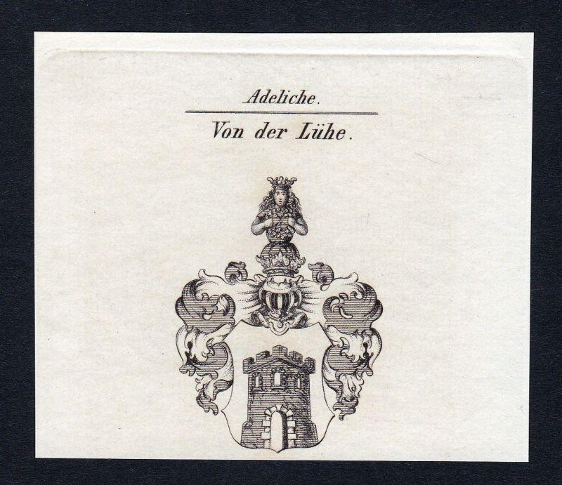 Ca. 1820 Lühe Luehe Wappen Adel coat of arms Kupferstich antique print he 140769 0