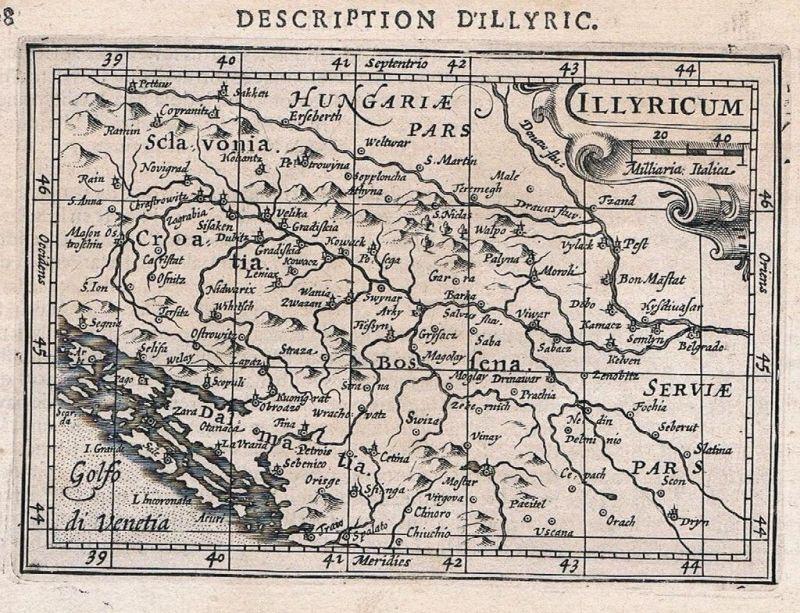 1618 - Illyrien Dalmatien Bosnia Serbia Croatia map Karte Hondius Kupferstich