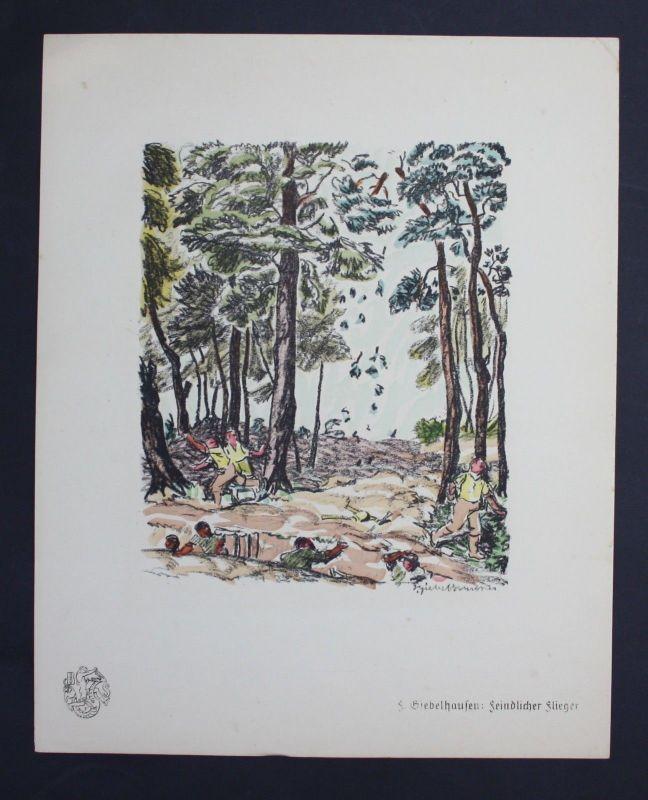 Fritz Giebelhausen Flieger  Original Lithographie Berliner Secession lithograph