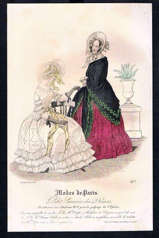 1838 Biedermeier Mode Kupferstich victorian fashion antique print Paris et 88883