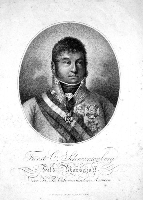 Ca. 1800 Karl Philipp Schwarzenberg Feldmarschall Österreich Austria Kupferstich