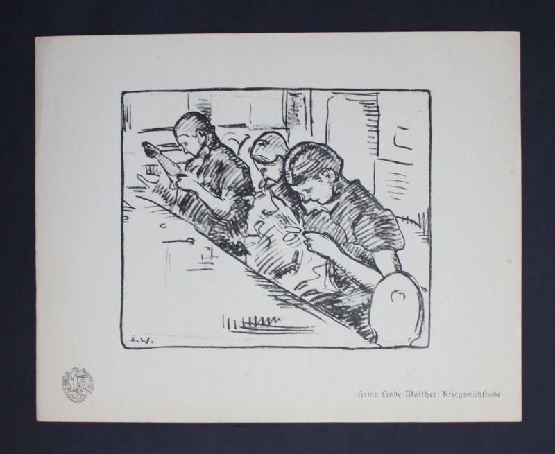 Heinrich Eduard Linde-Walther Kriegsnähstube Lithographie Berliner Secession
