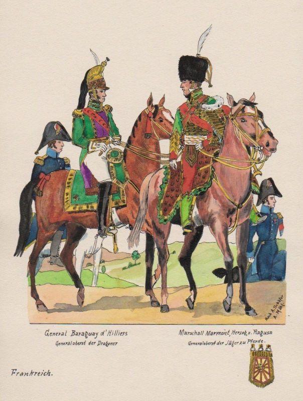1930 - General Marschall Marmont Dragoner Frankreich Uniform Uniformen Aquarell