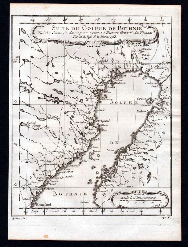1750 Gulf of Bothnia Sweden Finland map Karte Kupferstich antique print Bellin