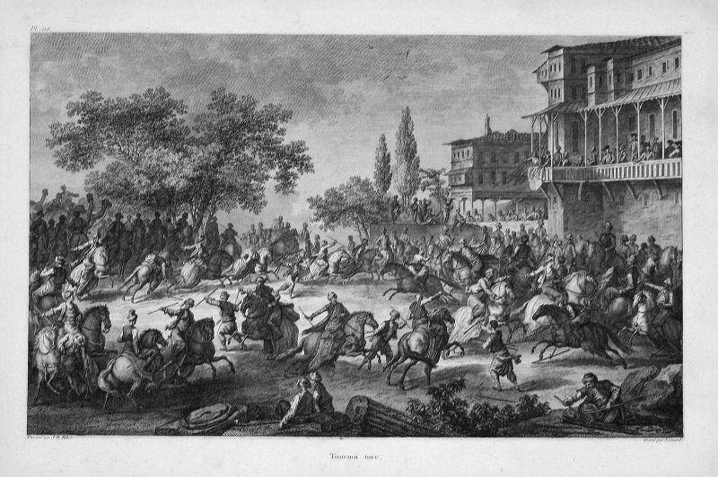 1781 Kampf Schlacht battle fight Turkey Türkei Kupferstich antique print Hilair