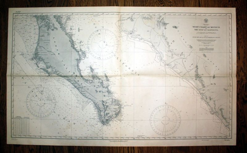 1943 North America West Coast Mexico Gulf California Kalifornien Amerika map