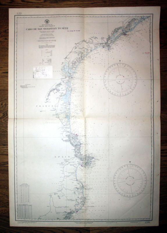 1934 Spain France Cabo De San Sebastian Sete Spanien Frankreich map Karte