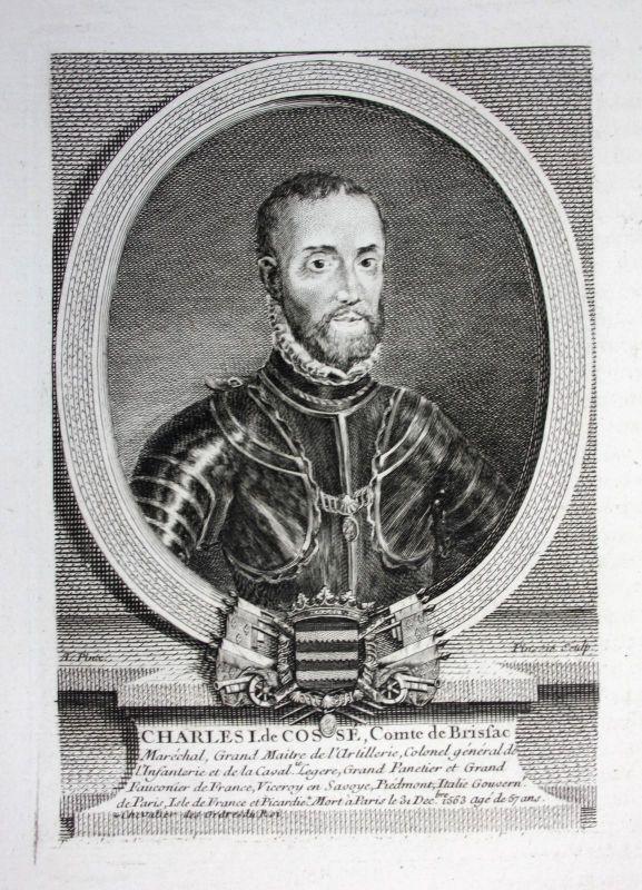 18. Jh. Charles I Karl de Cosse Graf Comte de Brissac Marechal gravure Portrait