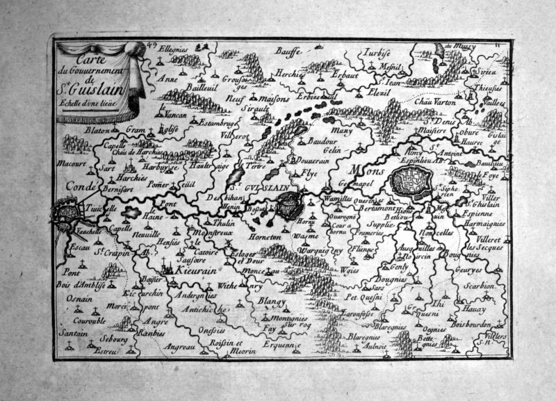 1680 Saint-Ghislain Mons Belgique carte gravure Kupferstich engraving Beaulieu