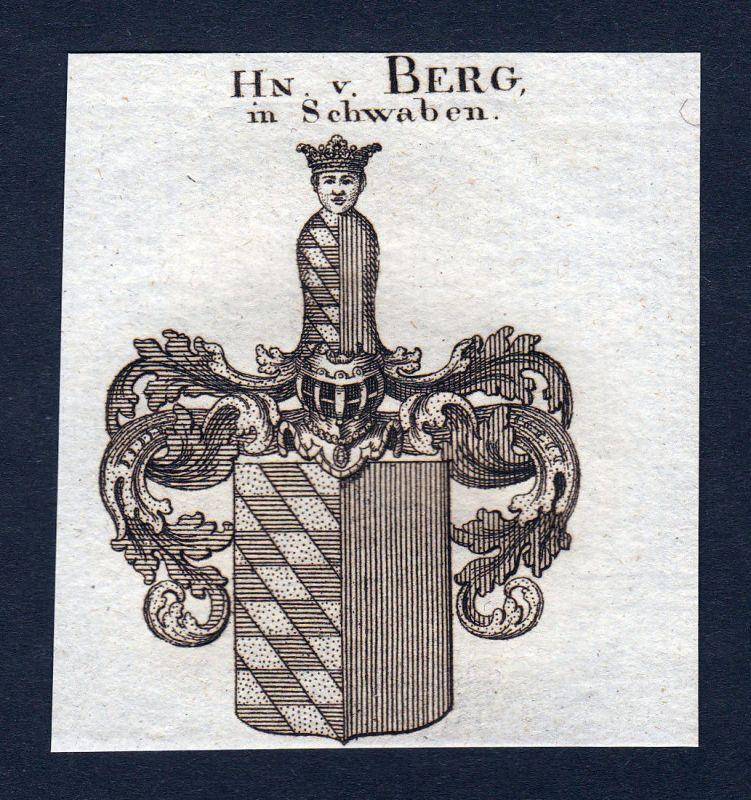 1820 Berg Schwaben Wappen Adel coat of arms Heraldik Kupferstich engraving