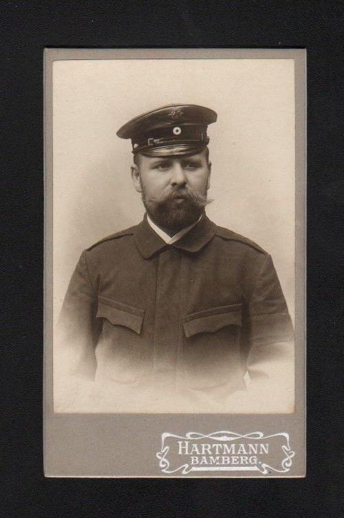 1900 Foto photo CDV Hartmann Bamberg Mütze Militaria vintage Portrait