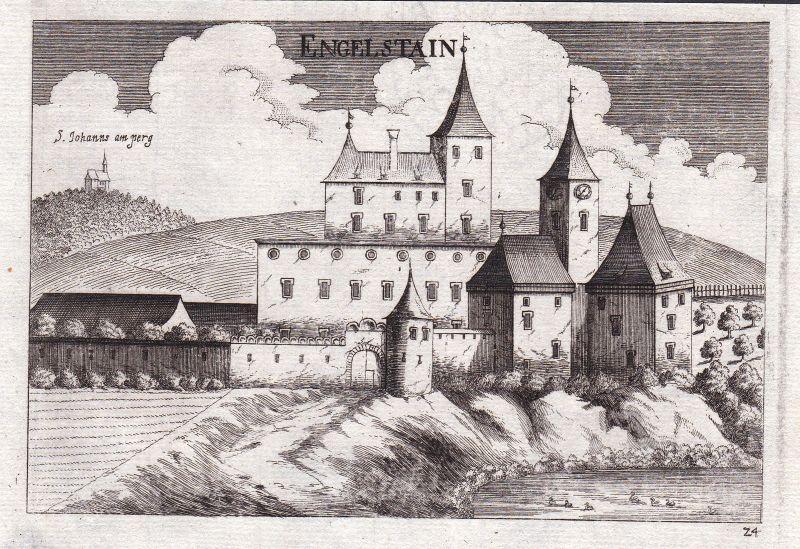 1672 Schlossanlage Engelstein Großschönau Kupferstich antique print Vischer