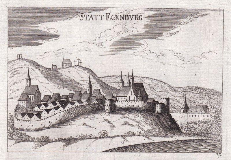 1672 Eggenburg Horn Ansicht Kupferstich antique print Vischer Niederösterreich