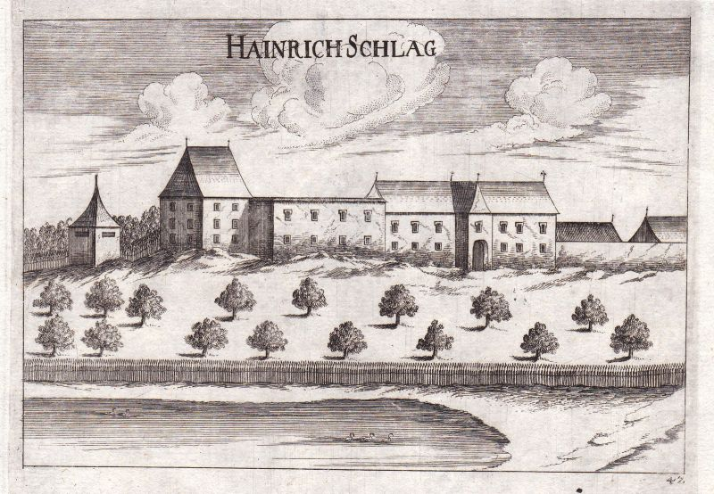 1672 Großheinrichschlag Weinzierl am Walde Kupferstich antique print Vischer