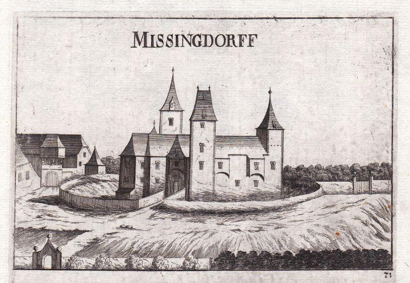 1672 Missingdorf Sigmundsherberg Horn Kupferstich antique print Vischer