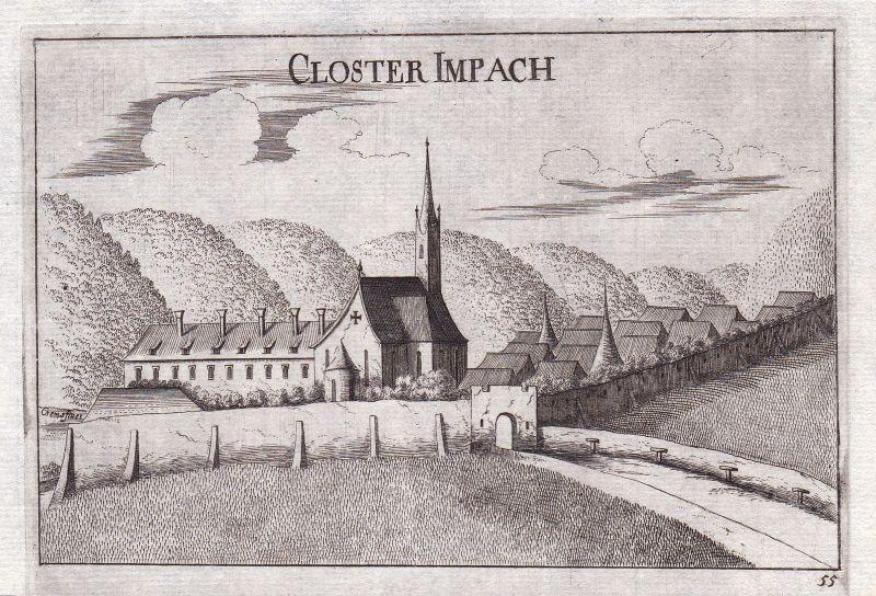 1672 Ehem. Dominikanerinnenkloster Imbach Kupferstich antique print Vischer