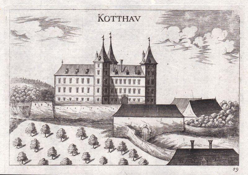 1672 Kottaun Geras Niederösterreich Kupferstich antique print Vischer