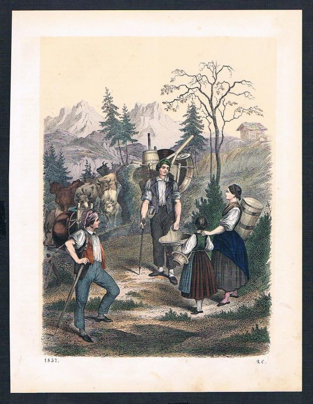 1857 - Almabzug Alm Alp Kühe Bauern Kuh Original Lithographie lithograph
