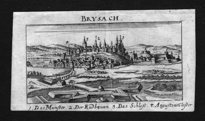 1690 - Breisach Rhein Gesamtansicht Brysach Kupferstich Riegel