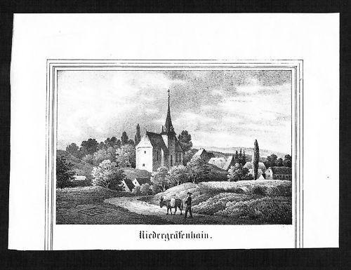 1840 - Niedergräfenhain Geithain Leipzig Lithographie