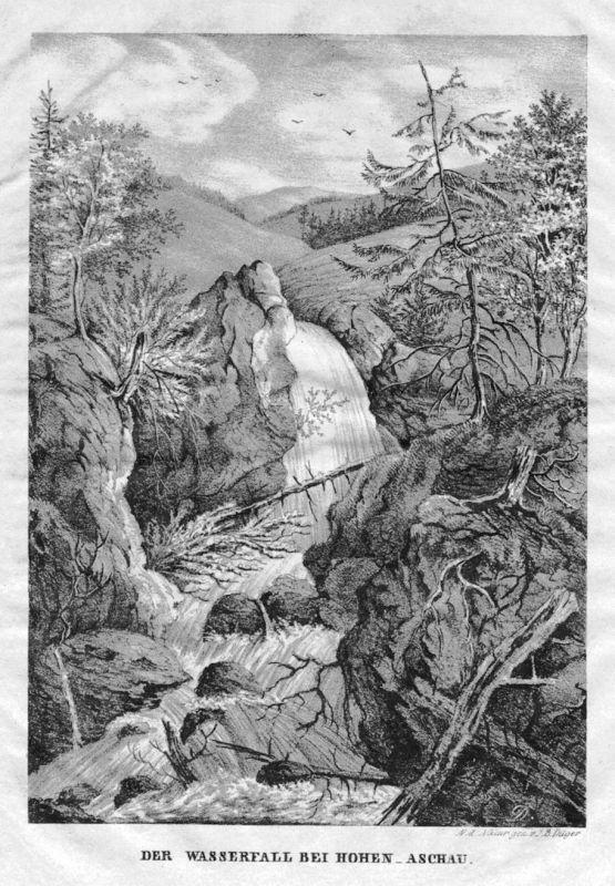 1840 - Schloss Hohenaschau Wasserfall Chiemgau Original Lithographie Dilger