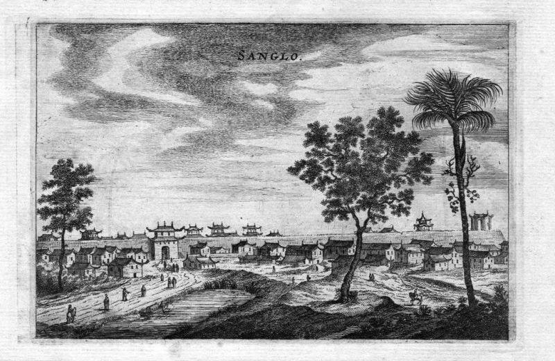 1680 - Tonquam Fluss Sanglo Stadtmauer China Asien Asia engraving Kupferstich