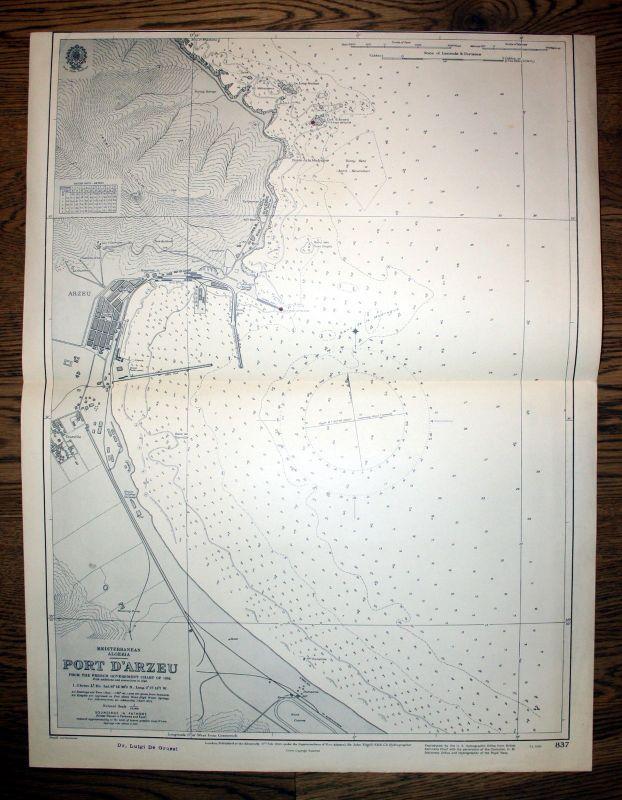1932 Mediterranean Algeria Port De Arzeu Algerien Afrika Atlantic Africa map