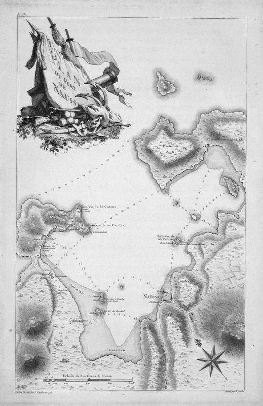 1781 Naoussa Naousa Paros Greece Karte map Kupferstich antique print Kauffer