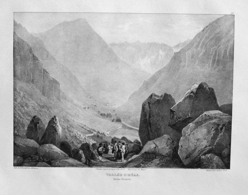 1840 - Vallée d'Heas Pyrenees Lithographie Jacottet litho lithograph