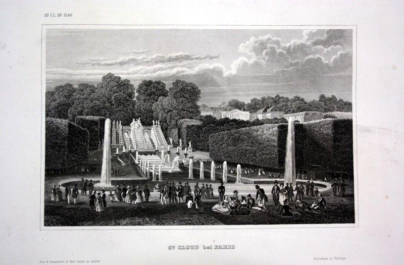1840 - Schloss Garten St. Cloud Paris Frankreich France gravure Stahlstich