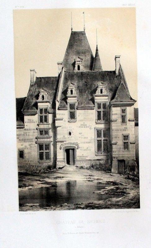 1860 - Chateau de Baumais Calvados Original Lithographie litho lithograph