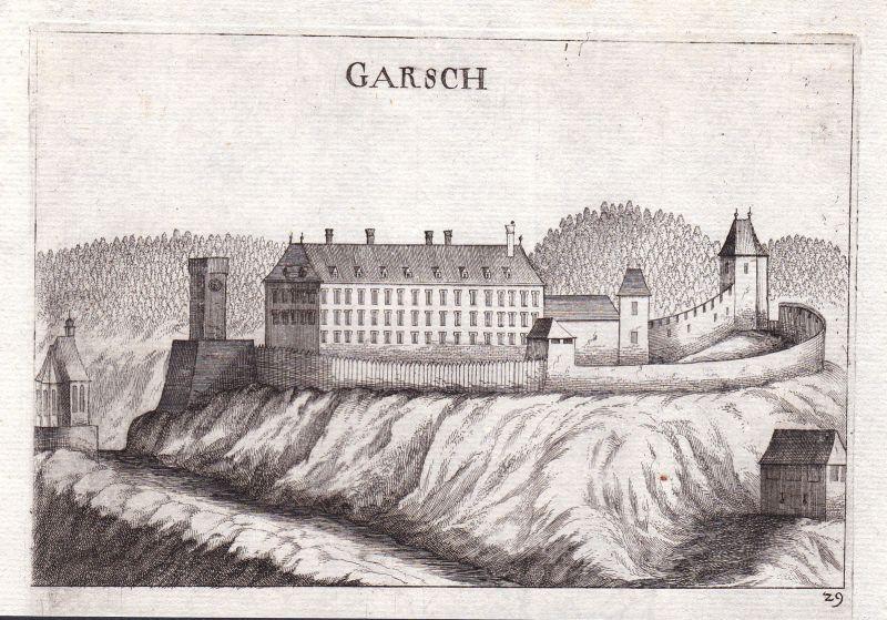 1672 Burg Gars am Kamp Ansicht Horn Kupferstich antique print Vischer