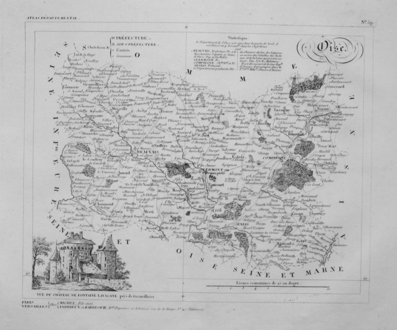 1830 - Departement Oise carte gravure Kupferstich Karte map France Frankreich