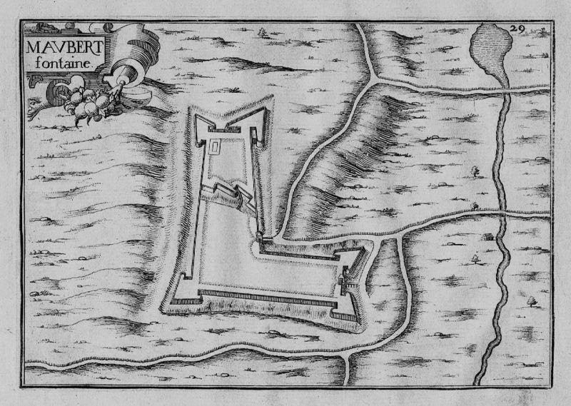 1640 - Maubert Fontaine Champagne-Ardenne Charleville gravure Kupferstich Tassin