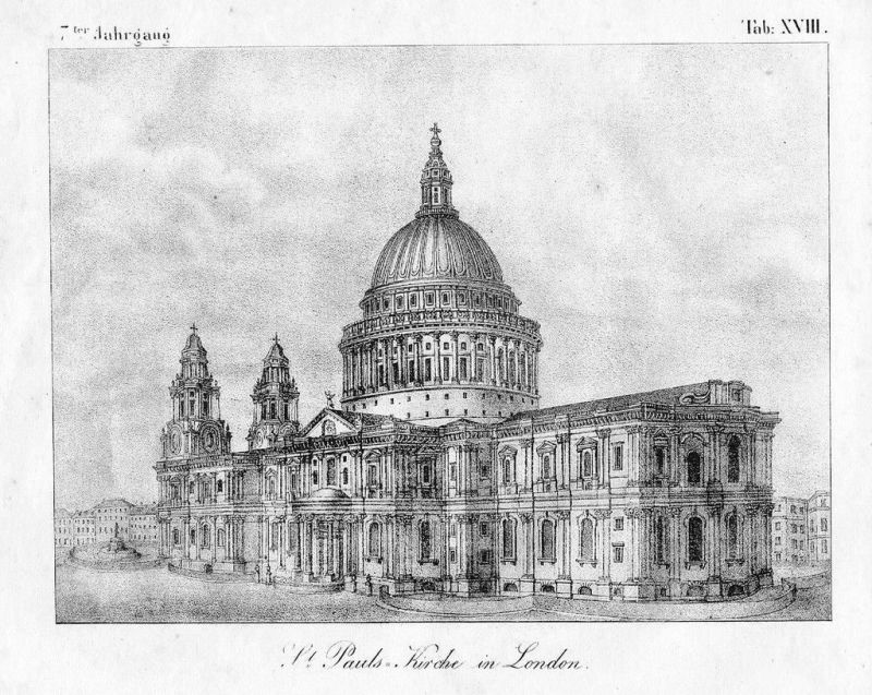 1830 - London St. Paul's Cathedral Lithographie