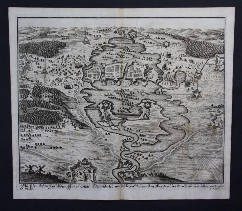 1700 - Wolfenbüttel Belagerung von 1627 Kupferstich engraving