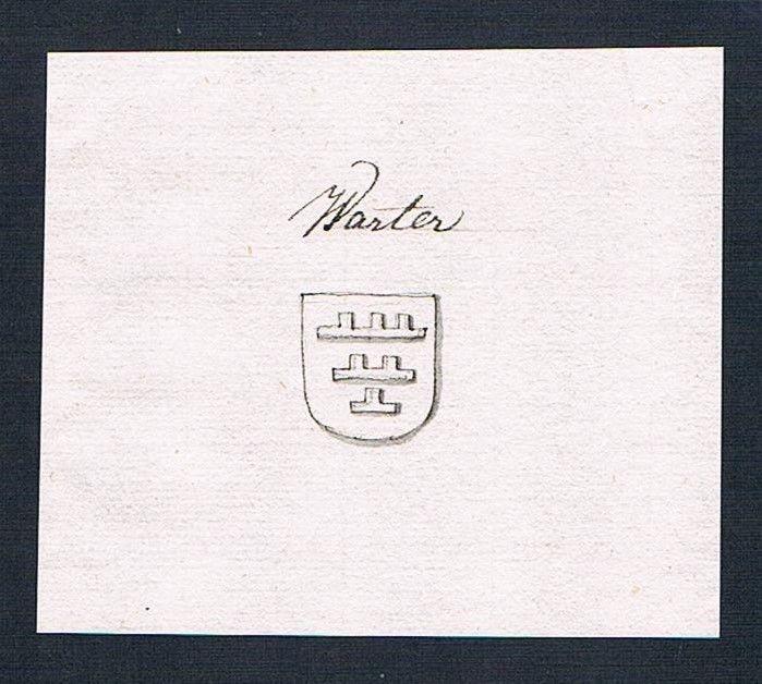 18. Jh. Warter Adel Handschrift Manuskript Wappen manuscript coat of arms