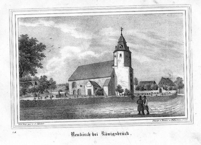 1840 - Neukirch/Lausitz + Friedersdorf Lithographie litho lithograph