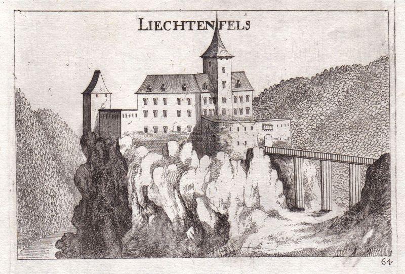 1672 Burg Lichtenfels Peygarten-Ottenstein Kupferstich antique print Vischer