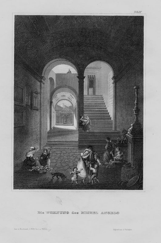 1840 - Florenz Firenze Wohnung Michelangelo Italy Italien incisione Stahlstich