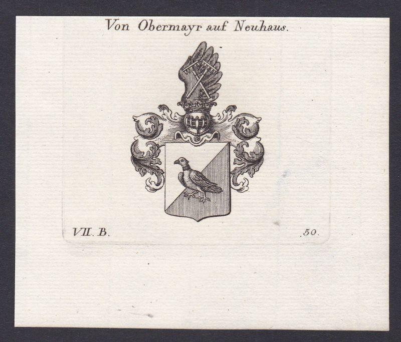 Obermayr Neuhaus Wappen Adel coat of arms Heraldik Kupferstich antique print