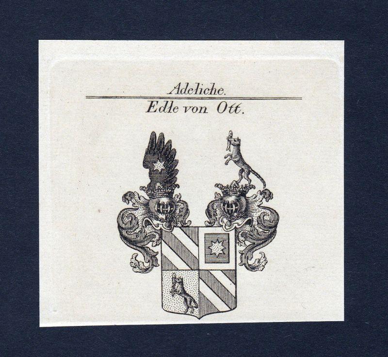 Ca. 1820 Ott Wappen Adel coat of arms Kupferstich antique print heraldry